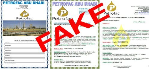 Examples of fake letters (Petrofac)